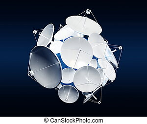 parabolic antena on a dark blue background