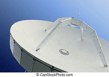 Parabolic antenna at night with stars behind it - Parabolic...