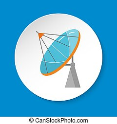 Parabolic antenna icon in flat style on round button
