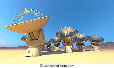 Parabolic antenna - 3D CG rendering of the parabolic...