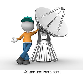 Parabolic dish - 3d people - man, person with a parabolic...