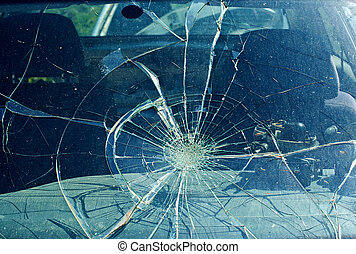 parabrisas, accidente de coche, roto