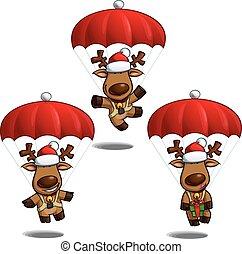 paracaídas, alces, navidad