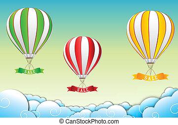 paracaídas, con, etiqueta de liquidación