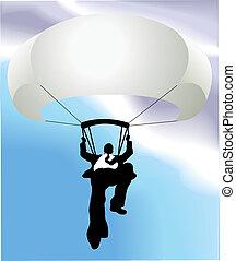 paracaídas, concepto, ilustración negocio, hombre