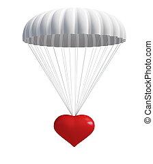 paracaídas, corazón