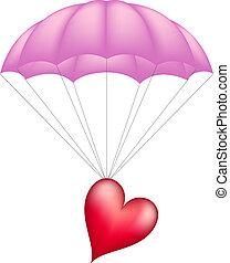 paracaídas, corazón, rosa