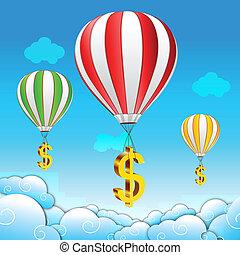 paracaídas, dólar