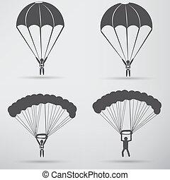 paracaídas, diseño, icono