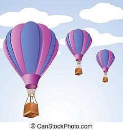 paracaídas, en, cielo