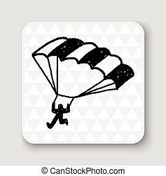 paracaídas, garabato