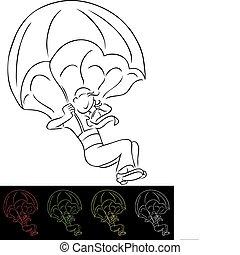 paracaídas, hombre de negocios