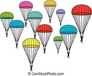 paracaídas, iconos