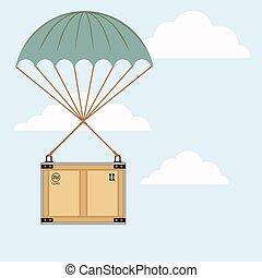 paracaídas, ilustración, paquete