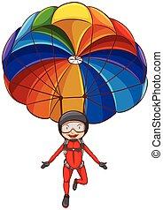 paracaídas, niña, bosquejo, simple