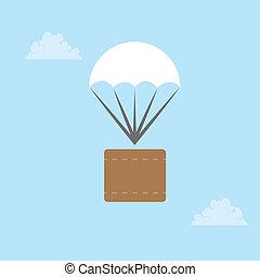 paracaídas, paquete
