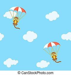 paracaídas, patrón, monos