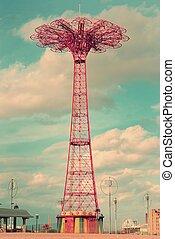 paracaídas, salto, isla de coney