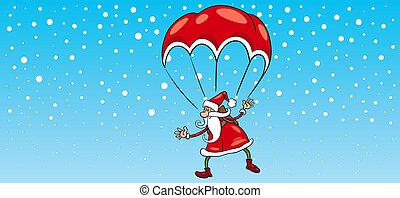 paracaídas, tarjeta, claus, saludo, santa