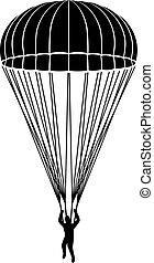 paracaídas, vector, icono