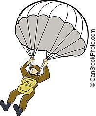 paracadute, cartone animato, americano, parà