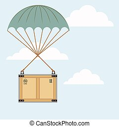 paracadute, illustrazione, pacchetto