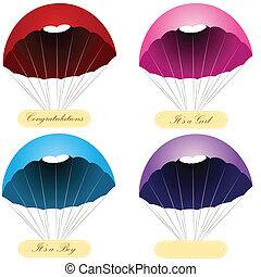 paracadute, messaggio, etichette