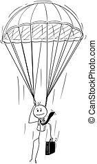 paracadute, uomo affari, skydiver, cartone animato