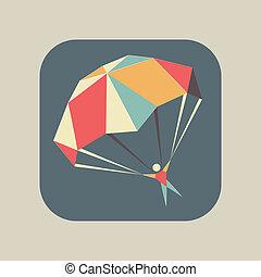 paracadute, volare, aperto, skydiver, icona