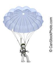 paracaidista, aterrizaje, rifle