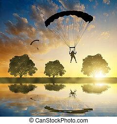 paracaidista, silueta, skydiver