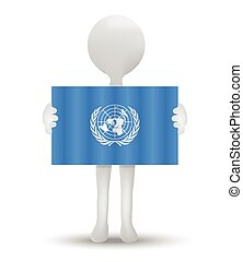 Paracel Islands, UN - small 3d man holding a flag of Paracel...