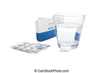 Paracetamol - Box of paracetamol tablets with water and...