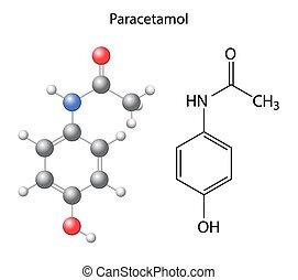 Paracetamol - structural chemical formula of the analgesic, 3d & 2d illustration on white background, balls & sticks, skeletal style, raster