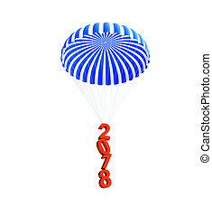 parachute 2018 new year on a white background 3D illustration, 3D rendering