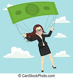Happy businesswoman flying with parachute success or safety concept