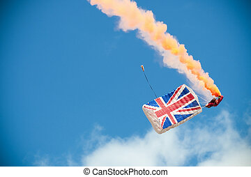 parachute canopy opening showing a british union flag