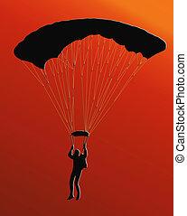 parachute, ciel coucher soleil, dos, plongeur