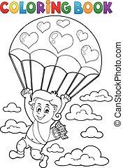 Parachute, coloration, Livre, cupidon