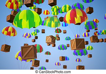 Image illustrating parachute crates delivery on a blue sky background. Refers to shipment, express transportation and distribution.