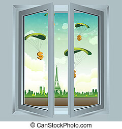 parachute, dollar, fenêtre, ouvert