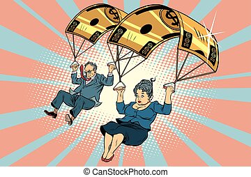 parachute, doré, compensation, financier, business