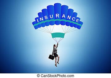 parachute, femme affaires, concept, assurance