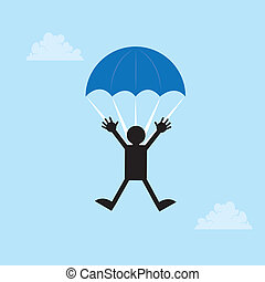 Parachute Figure - Figure falling from the sky with a...