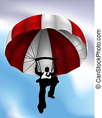 Parachute Flying Businessman Concept
