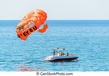 The parachute attached to the boat - Parachute for driving...