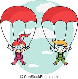 parachute, garçon, girl, gosses