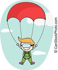 parachute, garçon, gosses