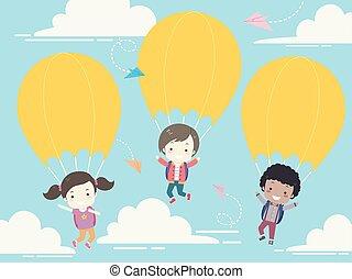 parachute, gosses école, étudiant, illustration