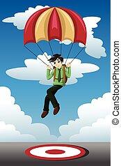 Parachute, homme affaires, cible, atterrissage
